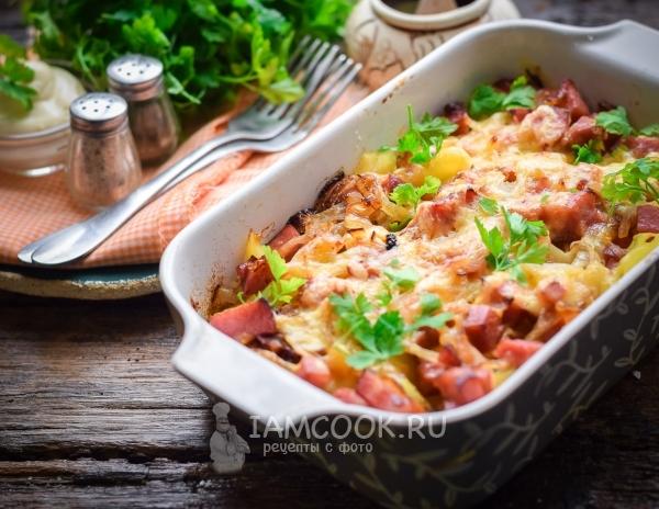Рецепт картошки с ветчиной и сыром в духовке