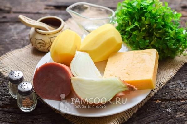 Ингредиенты для картошки с ветчиной и сыром в духовке