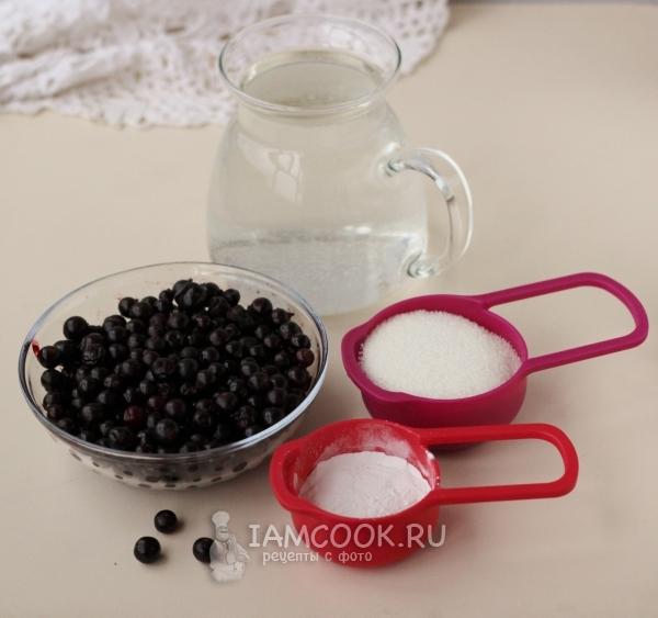 Ингредиенты для киселя из чёрной смородины