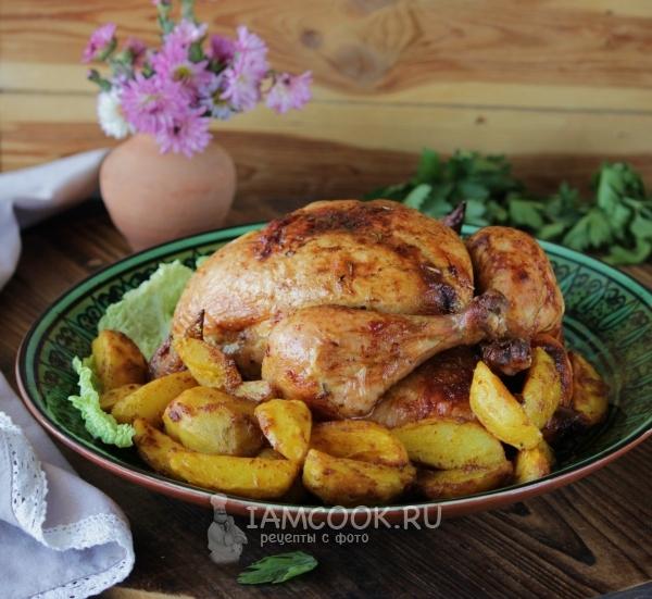Картошка по-деревенски с курицей в духовке