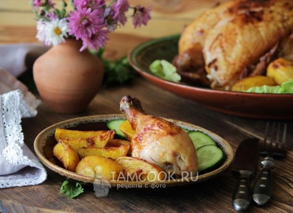 Рецепт картошки по-деревенски с курицей в духовке