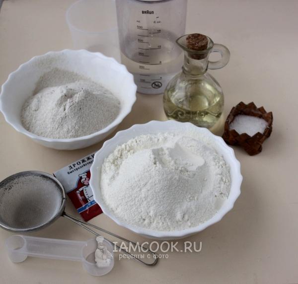 Ингредиенты для пшенично-ржаного хлеба в хлебопечке