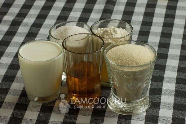 Ингредиенты для манника на молоке без яиц