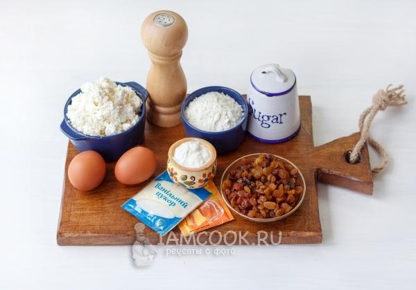 Ингредиенты для сырников с изюмом в духовке