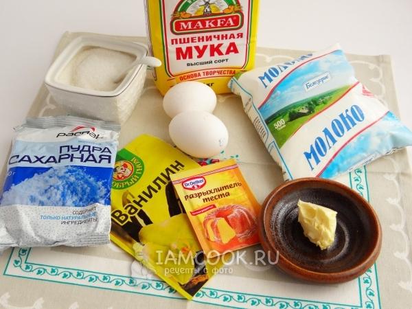 Ингредиенты для кекса на молоке в мультиварке