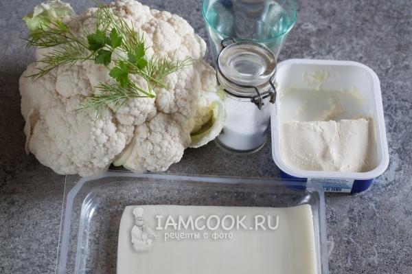 Ингредиенты для супа-пюре из цветной капусты с сыром