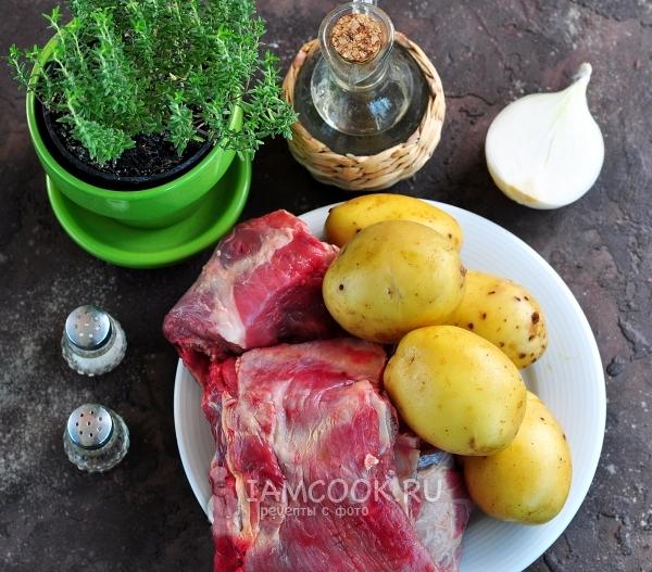 Ингредиенты для говяжьих ребрышек с картошкой в духовке