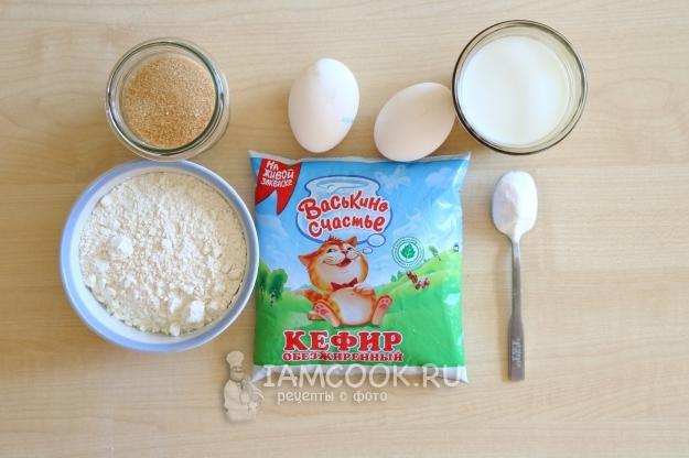 Ингредиенты для ажурных блинчиков на кефире и молоке