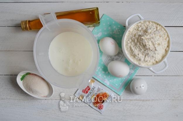Ингредиенты для пышных оладий на кефире и сухих дрожжах