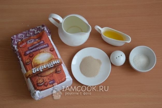 Ингредиенты для хлеба из цельнозерновой муки в духовке