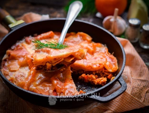 Рецепт лазаньи на сковороде