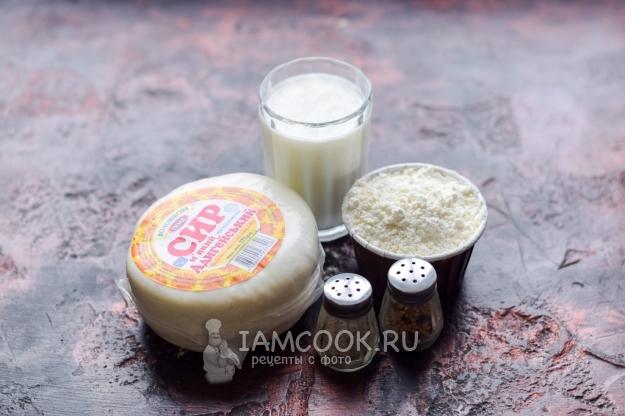 Ингредиенты для лепёшек с адыгейским сыром на сковороде