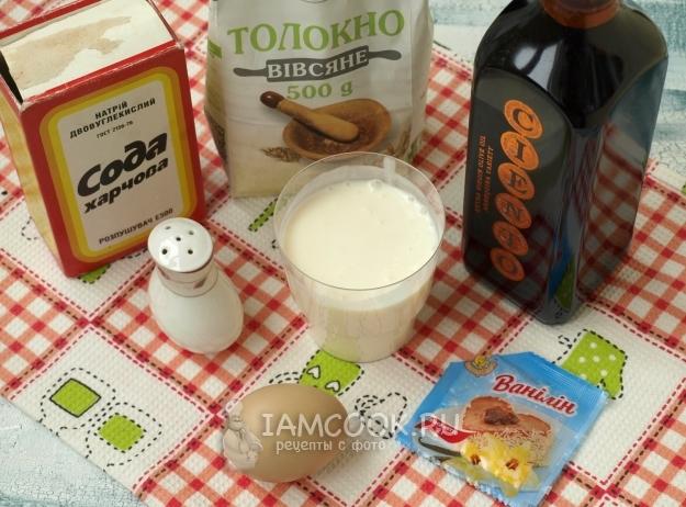 Ингредиенты для оладий из овсяной муки на кефире
