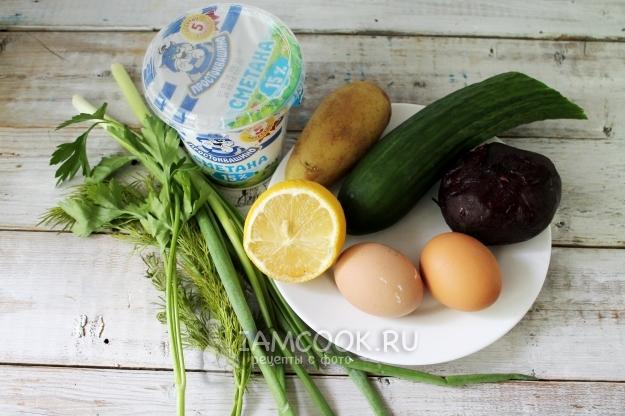 Ингредиенты для холодника со свеклой на кипяченой воде
