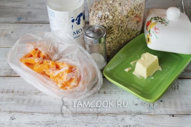 Ингредиенты для геркулесовой каши с тыквой
