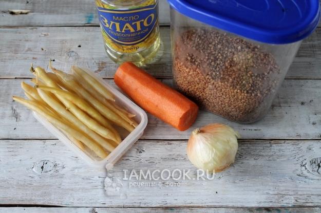 Ингредиенты для гречки со стручковой фасолью