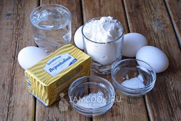 Ингредиенты для эклеров на маргарине