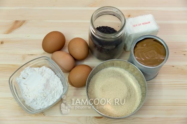 Ингредиенты для макового торта с кремом из вареной сгущенки