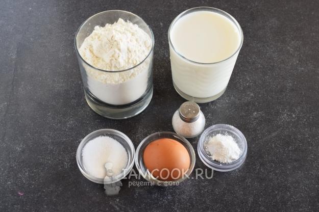 Ингредиенты для классических оладий на молоке