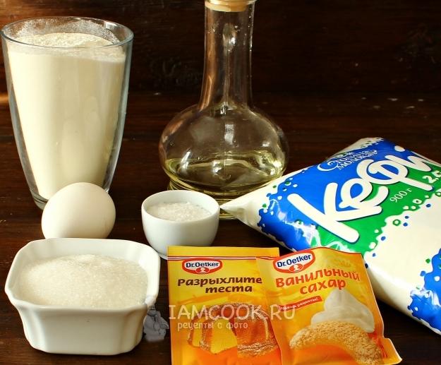 Ингредиенты для пышных оладий на кефире с разрыхлителем