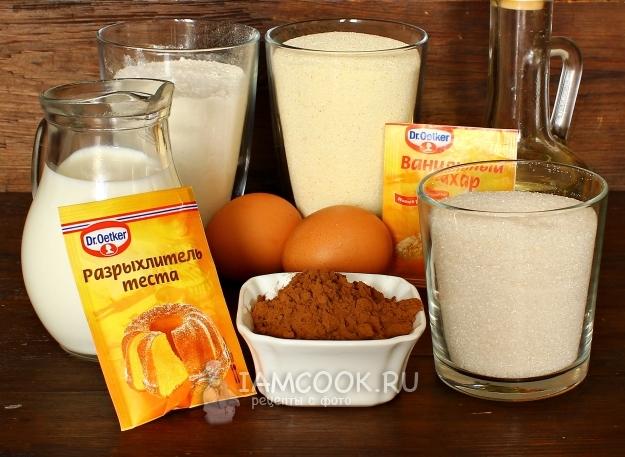 Ингредиенты для шоколадного манника на молоке