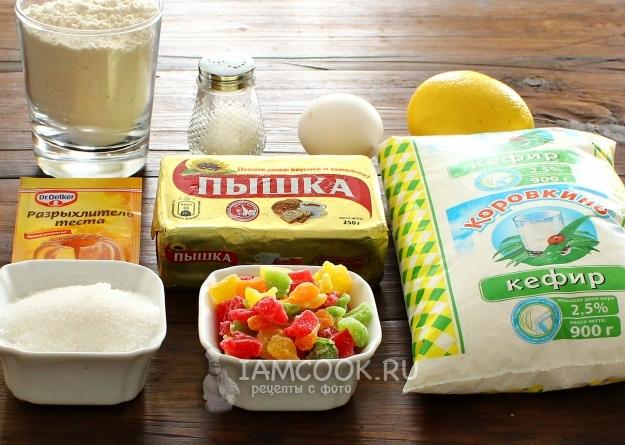 Ингредиенты для кексов на кефире и маргарине