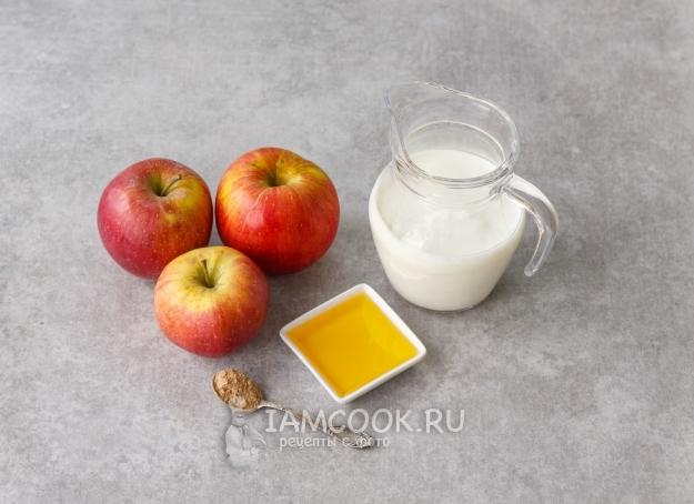 Ингредиенты для смузи из кефира и яблока