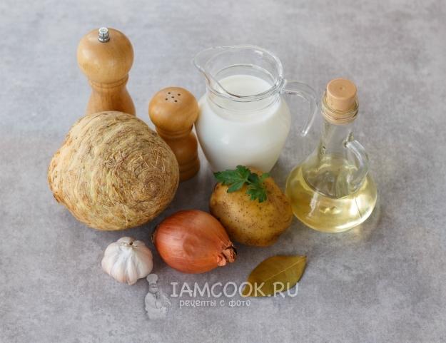 Ингредиенты для крем-супа из корневого сельдерея