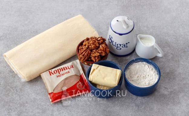 Ингредиенты для булочек с корицей из слоеного дрожжевого теста