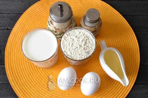 Ингредиенты для пышных оладий на молоке без соды