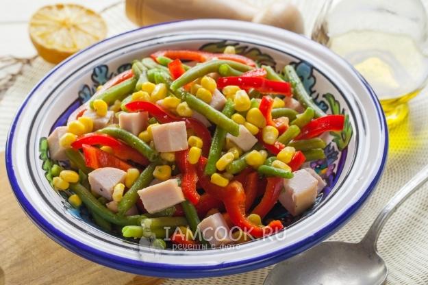Рецепт салата со стручковой фасолью и ветчиной