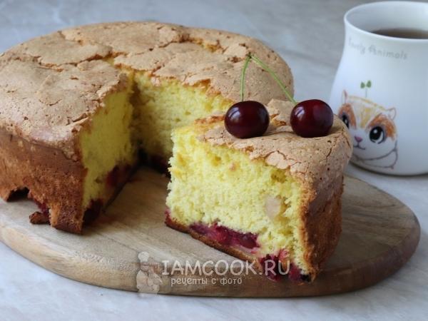 Шарлотка с яблоками и вишней — рецепт с фото пошагово