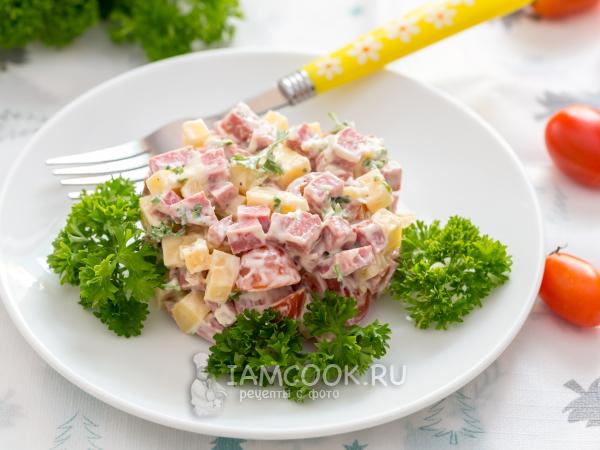 Салат с колбасой, сыром и помидорами — рецепт с фото пошагово