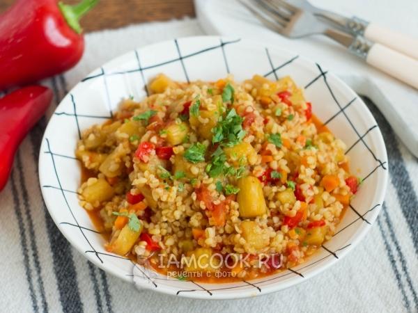 Булгур с баклажанами и помидорами — рецепт с фото пошагово