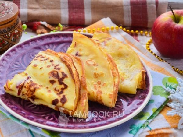 Блины с яблочным припеком — рецепт с фото пошагово