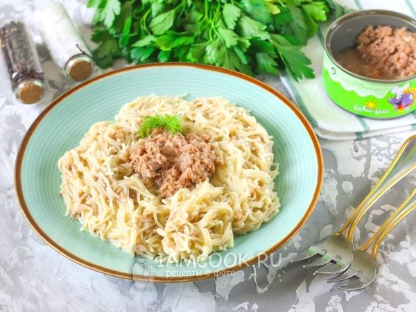 Вермишель с консервированным тунцом — рецепт с фото пошагово