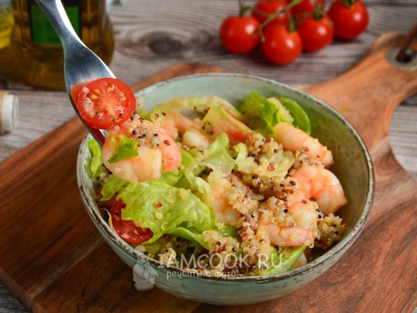 Салат с киноа и креветками — рецепт с фото пошагово