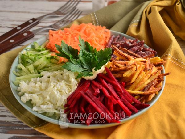 Французский салат с картошкой фри — рецепт с фото пошагово