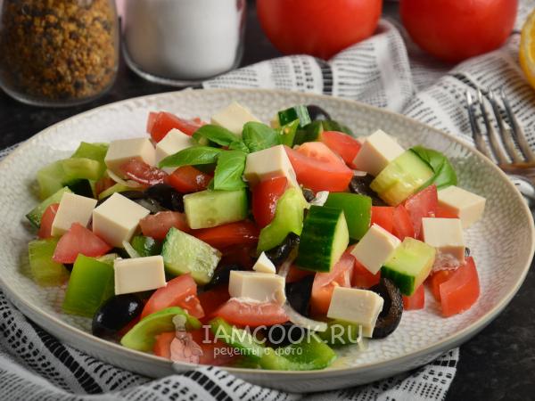 Греческий салат с тофу — рецепт с фото пошагово