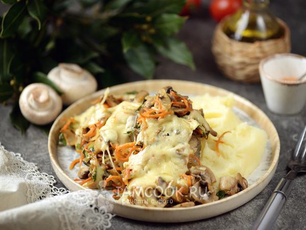 Горбуша с грибами и сыром в духовке — рецепт с фото пошагово