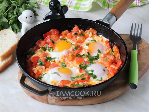 Яичница с помидорами и болгарским перцем — рецепт с фото пошагово