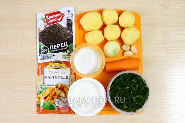 Ингредиенты для тушеной картошки с морковью и луком
