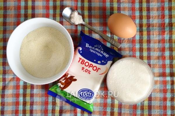 Ингредиенты для ленивых вареников без муки (с манкой)