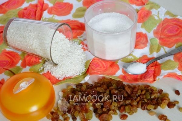 Ингредиенты для рисовой каши на воде с изюмом