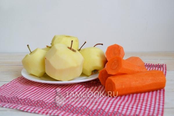 Почистить морковь и яблоки