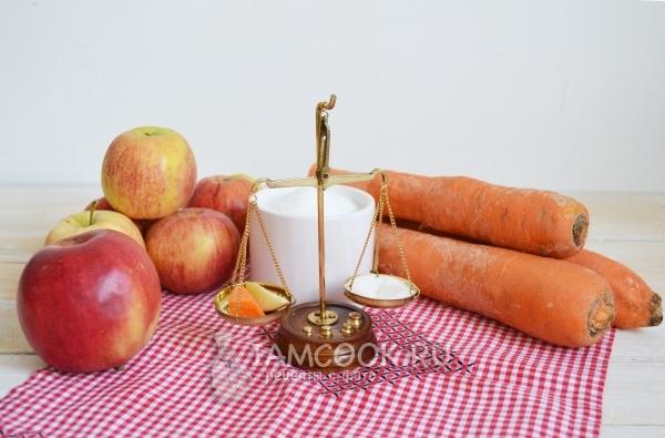 Ингредиенты для яблочно-морковного пюре на зиму
