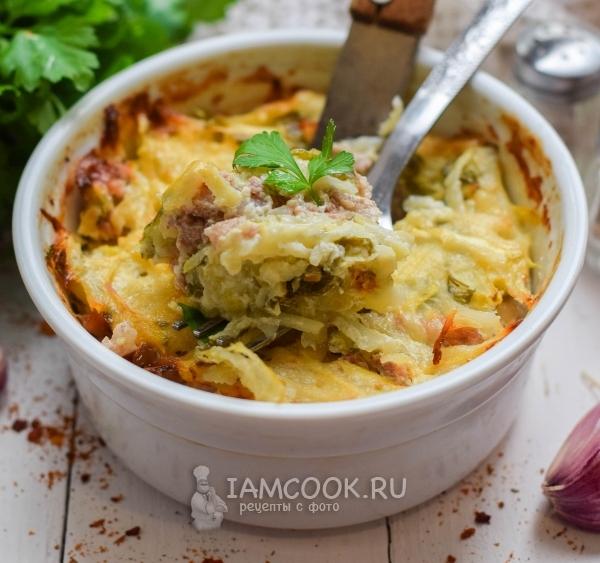 Рецепт запеканки с кабачками, фаршем и картофелем в духовке