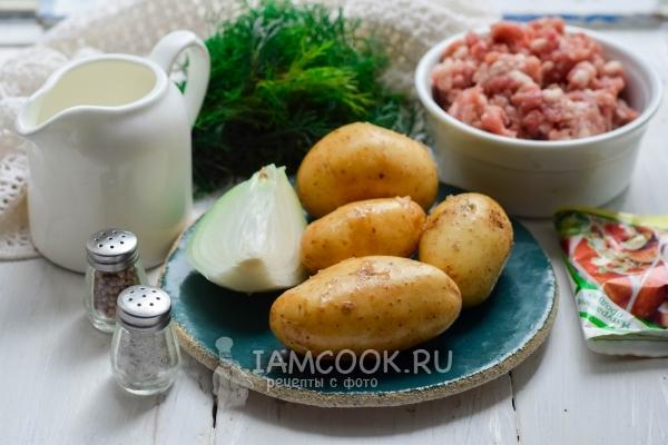 Ингредиенты для жареной картошки с фаршем на сковороде