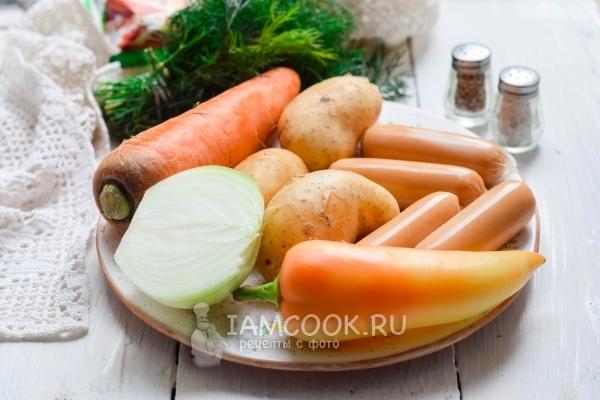 Ингредиенты для тушеной картошки с сосисками