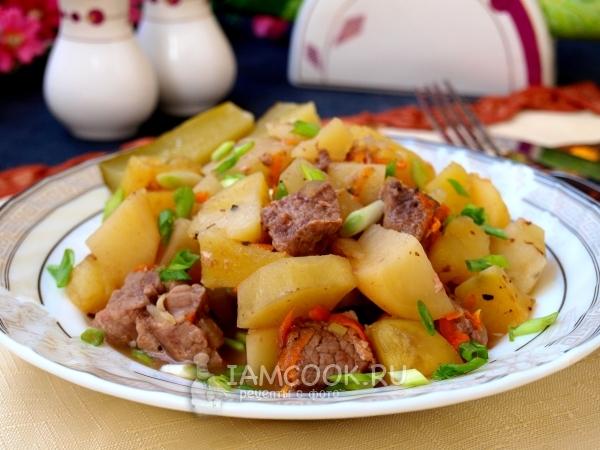 Рецепт тушёной картошки с мясом в духовке